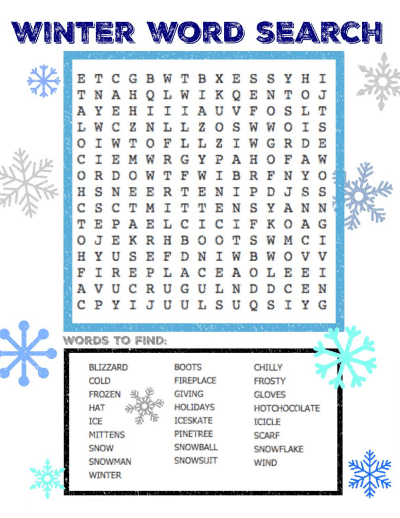 Winter Word Search Printable Snow png