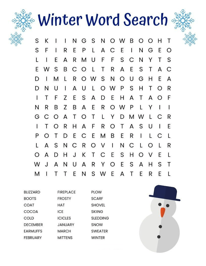 Winter Word Search Printable Snowman png