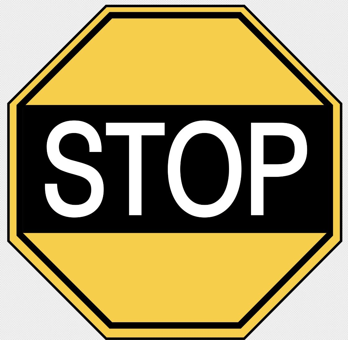 Yellow Vintage Stop Sign Png